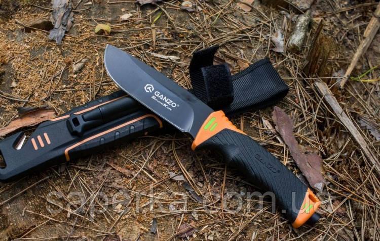 Нож с фиксированным клинком и огнивом Ganzo G8012-OR