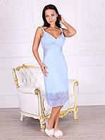 Сорочка вискозная с кружевом Леди голубого цвета 331
