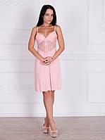 Сорочка вискозная с кружевом Леди нежного розового цвета 332 Роксана. ТОЛЬКО В КОМПЛЕКТЕ С ХАЛАТОМ!!