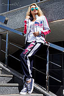 Модный женский спортивный костюм с принтом без капюшона 44-50 размеры