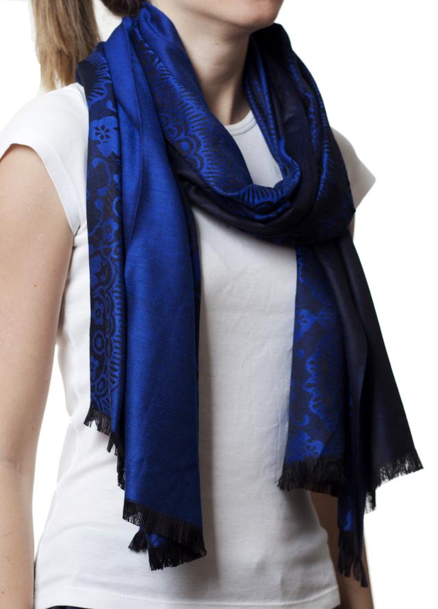 Палантин с узором синий (83002) 1