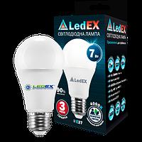 Лампа светодиодная LEDEX , 7W, E27, 665lm, 4000К нейтральный, матовое стекло, 270º, чип: Epistar