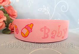 """Лента репсовая """"BABY"""", 2,5 см., цвет розовый"""