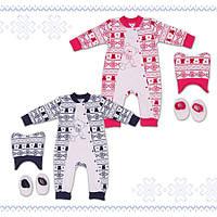 Велюровый комплект ясельный для новорожденных ( девочка ) ТМ Фламинго 3 предмета