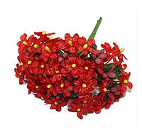 Фиалки Красные 2 см диаметр Декоративный букетик 6 шт/уп, фото 1