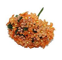 Фиалки Оранжевые 2 см диаметр Декоративный букетик 6 шт/уп, фото 1