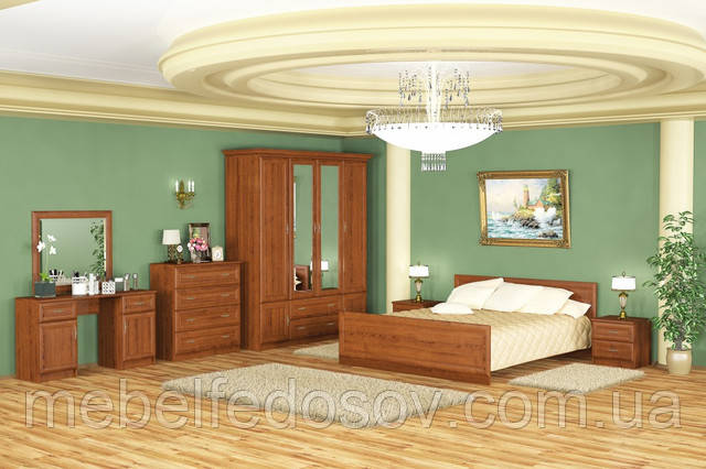 Даллас; спальня 4Д; каштан (Мебель Сервис)