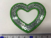 Нашивка  на одежду сердечко цвет зеленый