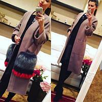 Модное женское пальто с меховыми карманами люкс качества, фото 1