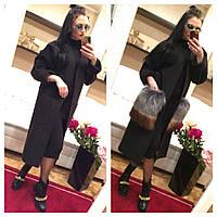 Модное женское пальто с меховыми карманами люкс качества черное