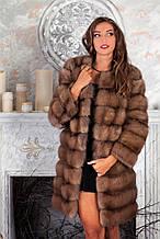 Шуба кожушок з куниці з круглим вирізом marten fur coat jacket