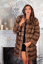 Шуба полушубок из куницы с круглым вырезом marten fur coat jacket