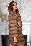 Шуба полушубок из куницы с круглым вырезом marten fur coat jacket, фото 2