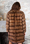 Шуба полушубок из куницы с круглым вырезом marten fur coat jacket, фото 3