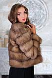 Шуба полушубок из куницы с круглым вырезом marten fur coat jacket, фото 5