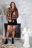Шуба полушубок из куницы с круглым вырезом marten fur coat jacket, фото 6