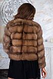 Шуба полушубок из куницы с круглым вырезом marten fur coat jacket, фото 7