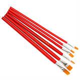 Кисть синтетика плоская №6 Красная ручка, фото 3