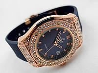 Женские часы HUBLOT - Geneve cristal, синий каучуковый ремешок, кристалы