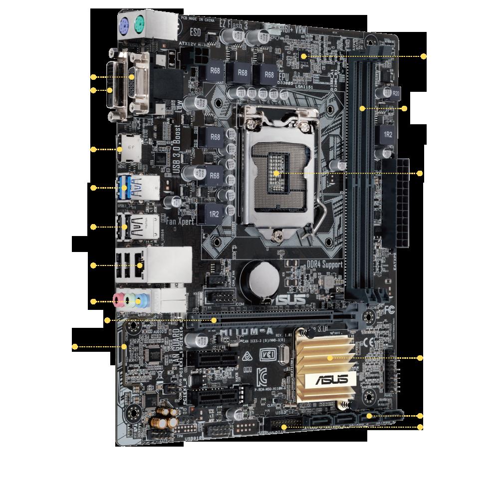 Материнская плата Asus H110M-A (s1151, Intel H110, PCI-Ex16)