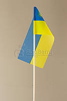 Флажок Украины 10*20 см.,герб малый слева, искуственный шелк