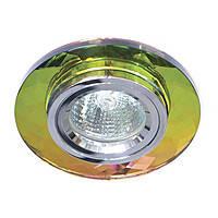 Точечный круглый светильник Feron 8050-2 MR16 с декоративным стеклом, мультиколор-5-серебро