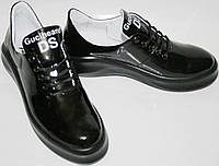Туфли на платформе Ditas DS-Y, женские, кожаные, черные, лаковые, высокий задник