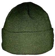 Шапка вязаная теплая зеленая, подкладка флис (шерсть/акрил)