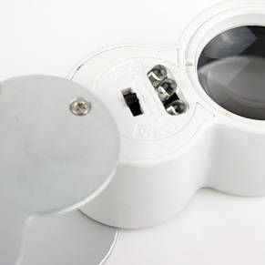 Ювелирная лупа с LED подсветкой и ультрафиолетом 40Х увеличение, диаметр 25 мм Magnifier 9888, фото 2