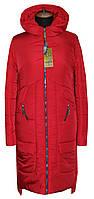 Пальто зимнее прямого кроя Мадера красное, р 44-56