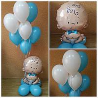 Композиция (Мальчик фольгированный, шарики гелиевые 7 шт)