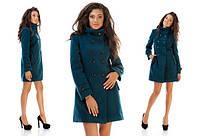 Пальто женское зелёное с высоким воротом UD/-070074