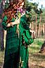 """Женское платье """"Сходи до Неба"""" зеленый лен, вышивка, ручная работа."""