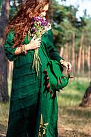 """Женское платье """"Сходи до Неба"""" зеленый лен, вышивка, ручная работа., фото 1"""