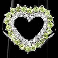 Кольцо-сердечко с ПЕРИДОТОМ (ХРИЗОЛИТОМ) и фианитами