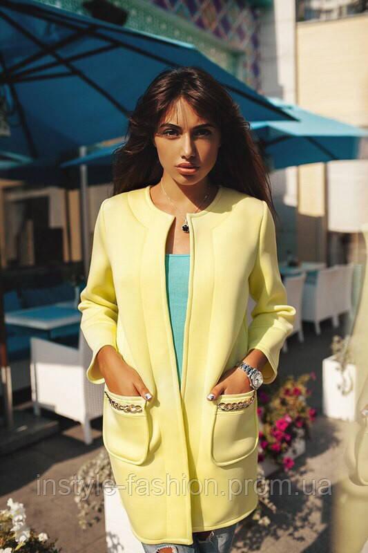 Стильный кардиган-пальто из неопрена желтого цвета