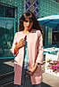 Стильный кардиган-пальто из неопрена нежно-розового цвета