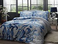 TAC евро комплект  постельного белья saten Delux Fabric mavi