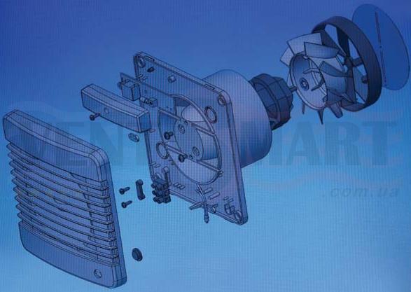 Схема конструкции вентиляторов для вытяжной вентиляции Вентс 100 М
