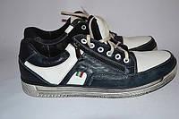 Кроссовки-туфли мужские сине-белые замок шнурок OK-9023, фото 1