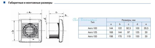 Вентилятор Blauberg Aero 100 вытяжной габарит