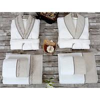 Набор Irya Hera - халат M/L+L/XL с полотенцами 90*150 (2 шт) + 50*90 (2 шт) белый с бежевым