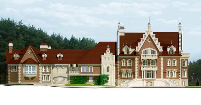 Визуализация главного фасада особняка
