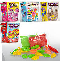 Песок для творчества MK-0370 (2 цвета в кульке, 800 г., формочки, инструмент) в коробке, фото 1