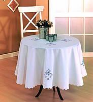 Скатерть на круглый стол 160Q KAYAOGLU Rose кремовая