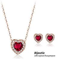 Комплект RED HEART золото 18К декор Swarovski
