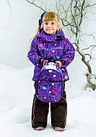 Детский зимний комбинезон для девочки фиолетовый термо на мембране