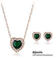 Комплект GREEN HEART ювелирная бижутерия золото 18К декор Swarovski