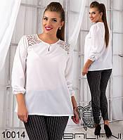 Блуза однотонная с гипюром 50,52,54,56