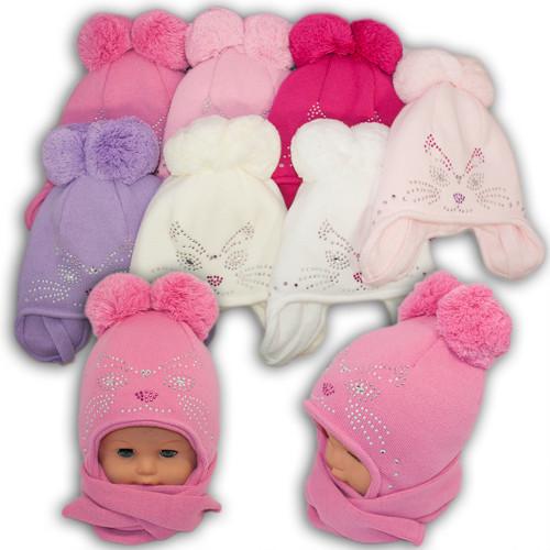 ОПТ Детский комплект - шапка и шарф для девочки,dz-16 (5шт/набор)